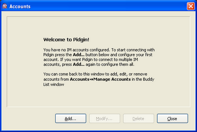 Pidgin welcome screen